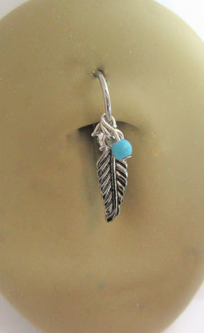 Surgical Steel Turquoise Feather Belly Hoop Ring 16 gauge 16g