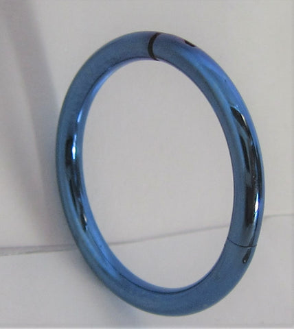 Blue Titanium Hinged Seamless Continuous Hoop 14 gauge 14g 12mm Diameter
