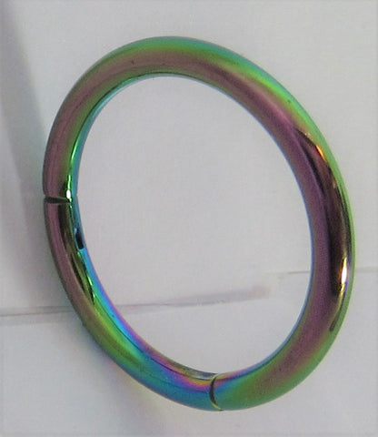Rainbow Oil Slick Titanium Hinged Seamless Continuous Hoop 14 gauge 14g 12mm Diameter