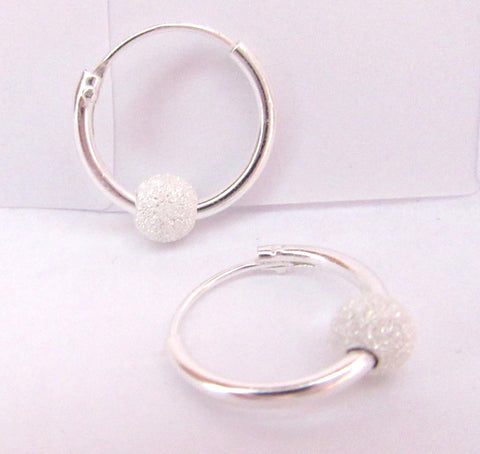 Sterling Silver Clear Crystal Ball Hoop Earrings - I Love My Piercings!