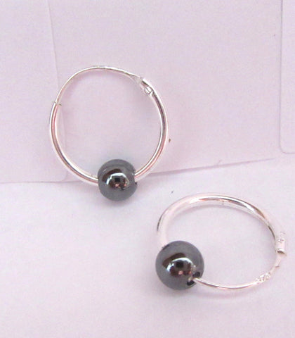 Sterling Silver Hematite Ball Hoop Earrings - I Love My Piercings!
