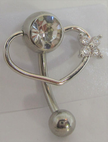 Clear Crystal Pressure Ball Heart Flower Hoop VCH Clit Clitoral Hood Ring 14 gauge