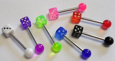 7 DICE Tongue Barbells Posts Rings 14g 14 gauge - I Love My Piercings!