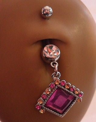 Surgical Steel Belly Ring Pink Citrine Crystals  Dangle 14 gauge 14g - I Love My Piercings!