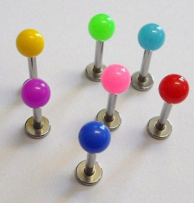 7 Lip Labret Rings Studs Barbells 14 gauge 14g 8mm - I Love My Piercings!