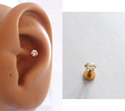 Gold Titanium Clear Crystal Conch Stud Barbell Post 16 gauge 16g - I Love My Piercings!