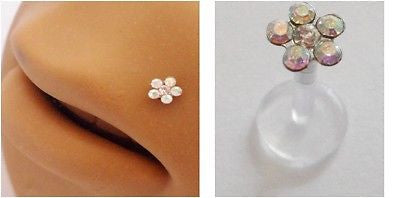 Bioplast CRYSTAL Flower Lip Stud Ring Post Gem CZ 16 gauge 16g AB Gem CZ - I Love My Piercings!
