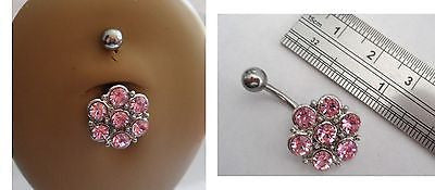 Surgical Steel Large Flower Belly Ring Barbell Pink Crystal 14 gauge 14g - I Love My Piercings!
