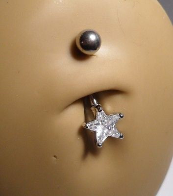 Surgical Steel Belly Ring Curved Barbell Jeweled Clear Crystal Star 14 gauge 14g - I Love My Piercings!