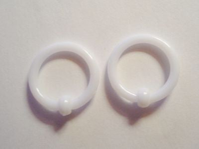 White Acrylic Captives No Tool Stretched Lobe Hoops Rings Plugs 14 gauge 14g - I Love My Piercings!