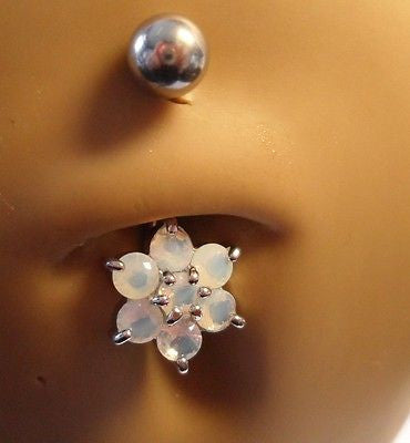Surgical Steel Belly Ring Curved Barbell  Opalescent  Flower 14 gauge 14g - I Love My Piercings!
