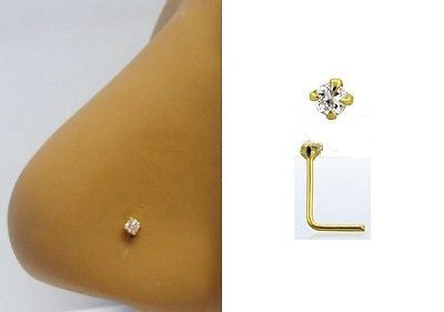 18K GOLD Plated Claw Set Clear Crystal Nose Ring Pin L Shape 22 gauge 22g - I Love My Piercings!
