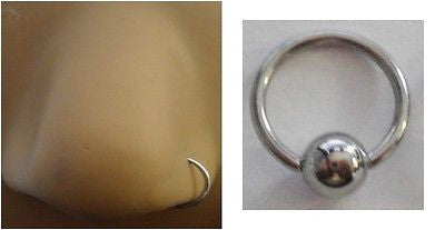 Surgical Steel Silver Nose Hoop Captive Small Ring 20 gauge 20g 6mm diameter - I Love My Piercings!