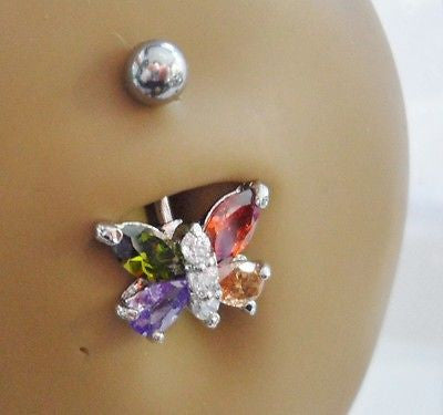 Surgical Steel Belly Ring Barbell Dangle Jeweled Mosaic Butterfly 14 gauge 14g - I Love My Piercings!