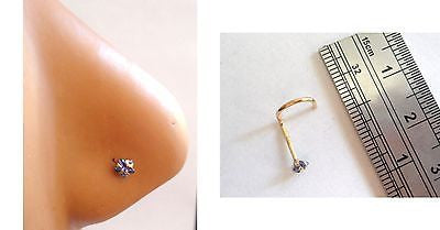 Stamped 14K Yellow Gold Purple Star Crystal Nose Screw Stud Ring 20 gauge 20g - I Love My Piercings!