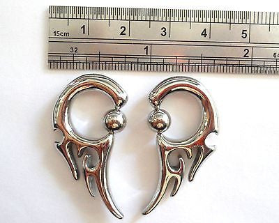 Pair 2 pieces Surgical Steel Captive Tribal Earrings 8 gauge 8g - I Love My Piercings!