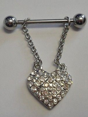 Surgical Steel Crystal Dangle Heart CZ Gem Nipple Barbell Ring 14 gauge 14g - I Love My Piercings!