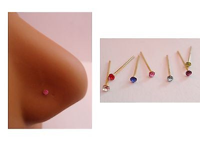 18K GOLD Plated Crystal Gem CZ Nose Studs Pins Ubend Straight Post 22 gauge 22g - I Love My Piercings!