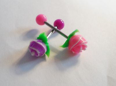 2 Soft Silicone Purple Pink Rose Barbells Tongue Rings Posts 14 gauge 14g - I Love My Piercings!