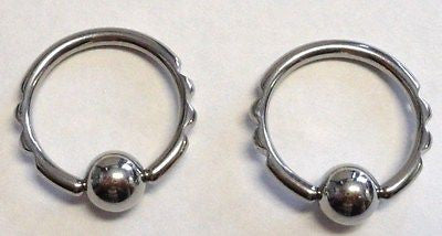Pair TRIBAL NOTCH Captives Rings Hoops 12g 12 gauge 1/2 inch diameter - I Love My Piercings!