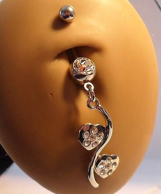Surgical Steel Belly Ring Curved Barbell Heart  Clear Crystals 14 gauge 14g - I Love My Piercings!
