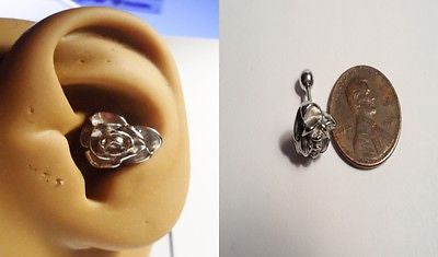 Large Surgical Steel Flower Rose Barbell Stud Conch Helix Cartilage 16 gauge 16g - I Love My Piercings!