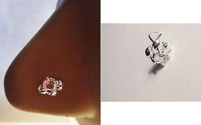 Sterling Silver Nose Stud Pin Ring L Shape Post Crystal Swirl  20g 20 gauge - I Love My Piercings!