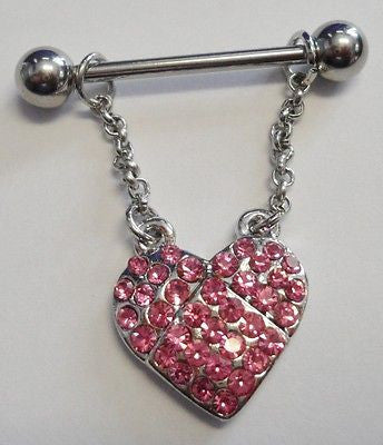 Surgical Steel Crystal Dangle Heart Pink CZ Gem Nipple Barbell Ring 14 gauge 14g - I Love My Piercings!
