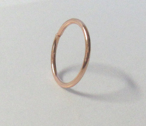 Rose Gold Titanium Seamless No Ball Thin Hoop Ring 22 gauge 7 mm Diameter