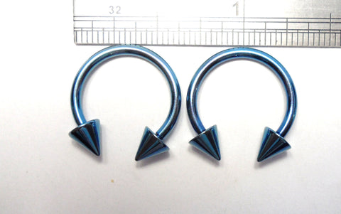 Pair Blue Titanium Horseshoes Spikes Spiked Hoops 14 gauge 14g 12 mm Diameter - I Love My Piercings!