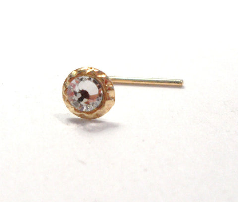 10K Yellow Gold Clear CZ Crystal Beaded Ornate Nose Stud L Shape Pin 22 gauge