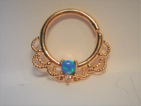18k Gold Plated Filigree Blue Opal Hoop Seamless 16 gauge