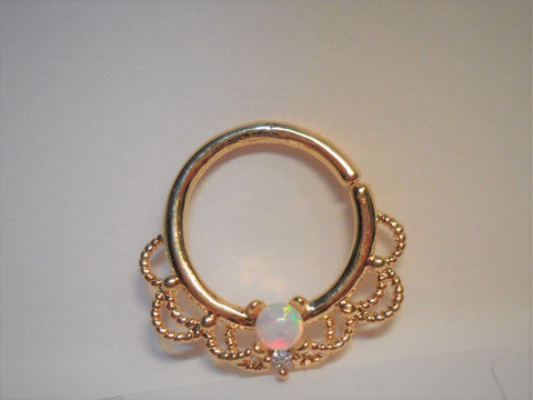 18k Gold Plated Filigree White Opal Hoop Seamless 16 gauge