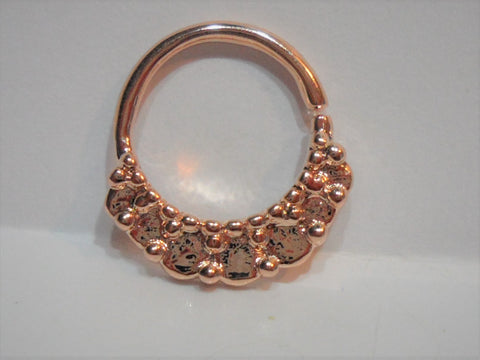 18k Rose Gold Plated Hammered Ornate Seamless Hoop Ring 16 gauge 16g