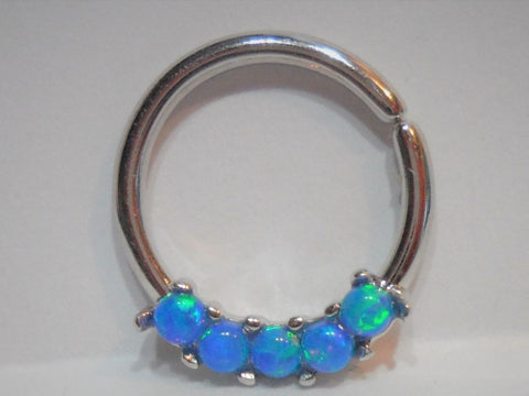 Surgical Steel 5 Blue Opal Seamless Hoop 16 gauge