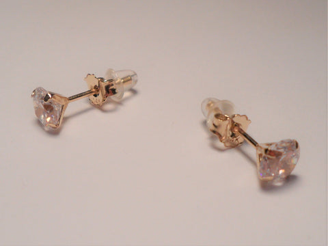 14k Real Gold Studs with Clear Faucet Cut Crystals