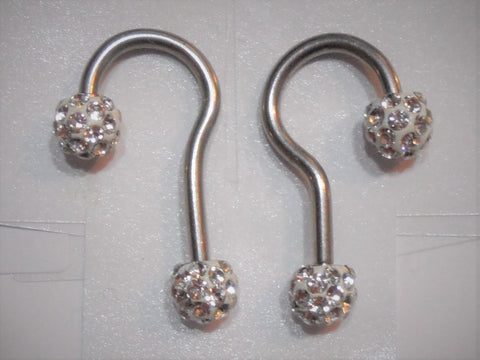 Pair Stainless Surgical Steel Dangle Hoop Hook Gem Ball Earrings 14 gauge 14g