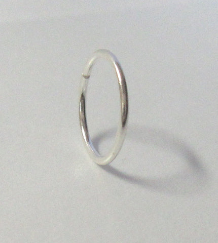 Sterling Silver Seamless Hoop 22 gauge 22g 7mm diameter