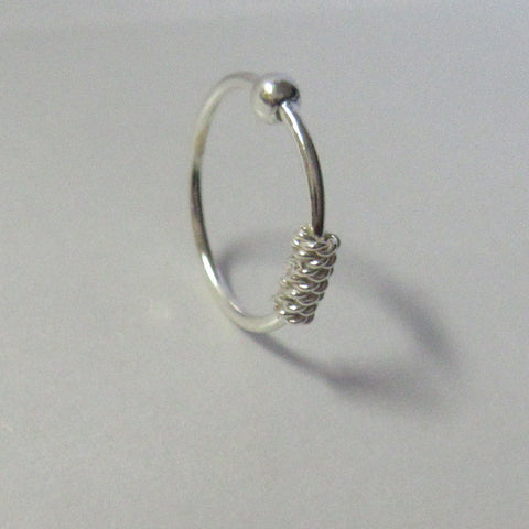 Sterling Silver Wire Wrap Ear Cartilage Nose Hoop Ring 20 Gauge 20g