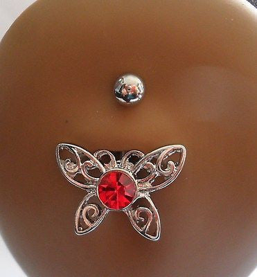 Surgical Steel Belly Fancy Dangle Red Filigree Crystal Butterfly 14 gauge 14g - I Love My Piercings!