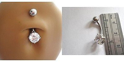 Surgical Steel Belly Ring Round Single Clear Crystal Claw Set 14 gauge 14g - I Love My Piercings!