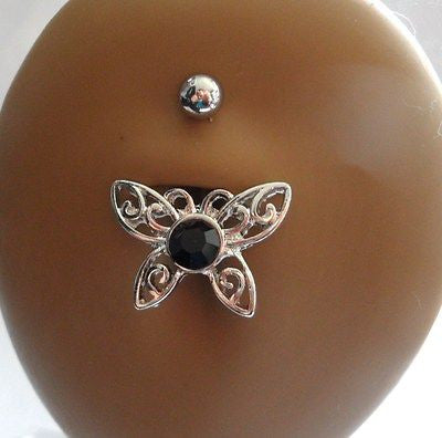 Surgical Steel Belly Fancy Dangle Black Filigree Crystal Butterfly 14 gauge 14g - I Love My Piercings!