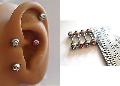 4 Surgical Steel Crystal Gem Balls Cartilage Tragus Conch Barbells 16 gauge 16g - I Love My Piercings!