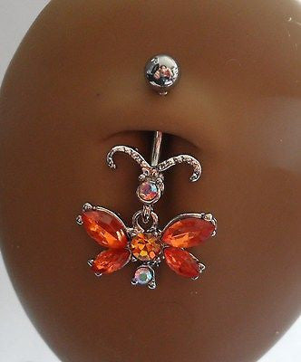 Surgical Steel Belly Ring Fancy Crystal Butterfly Dangle 14 gauge 14g Amber - I Love My Piercings!