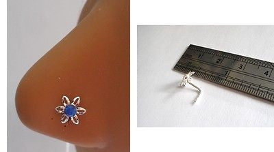 Sterling Silver Nose Stud Pin Ring L Shape Crystal Flower 20g 20 gauge Blue - I Love My Piercings!