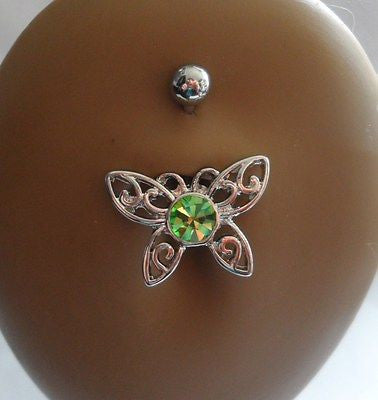 Surgical Steel Belly Fancy Dangle Green Filigree Crystal Butterfly 14 gauge 14g - I Love My Piercings!