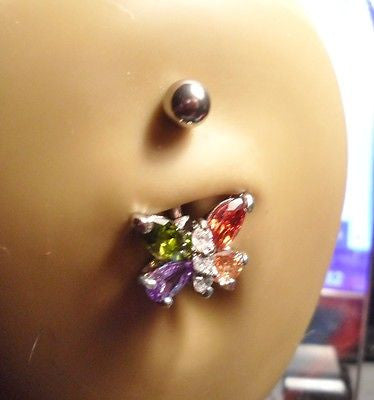 Surgical Steel Belly Ring Barbell Jeweled Mosaic Butterfly 14 gauge 14g - I Love My Piercings!
