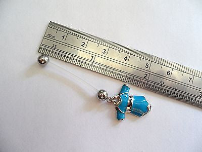 Bioplast Pregnancy Flexible Blue Tee Shirt Belly Barbell Ring 14 gauge 14g - I Love My Piercings!