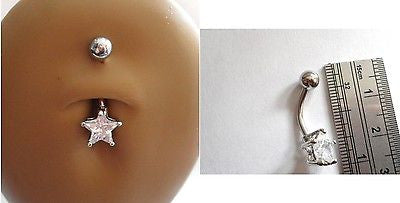 Surgical Steel Belly Ring Star Single Clear Crystal Claw Set 14 gauge 14g - I Love My Piercings!