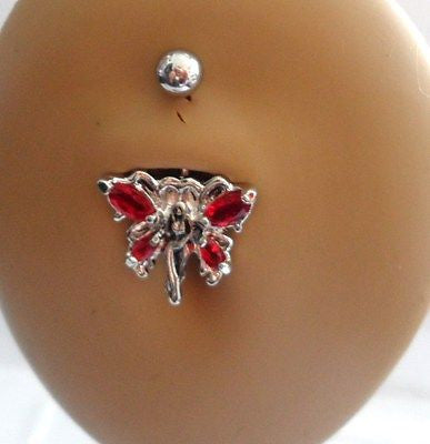 Surgical Steel Belly Ring Tinkerbell Fairy Crystal 14 gauge 14g Red - I Love My Piercings!